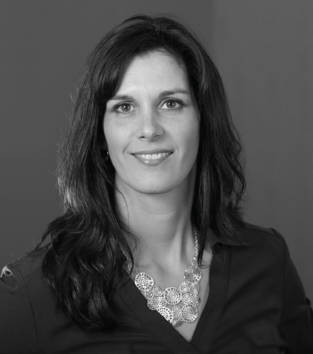 black and white professional headshot of a woman